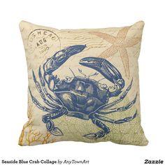 Seaside Blue Crab Collage Cushion