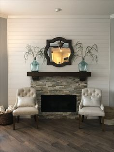 shiplap and stacked stone fireplace