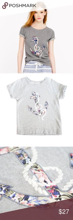 J.Crew Terry T Shirt J.Crew lovely terry t-shirt top. Floral anchor design in the front. Size medium. Good clean condition. Retailed for $70 J. Crew Tops