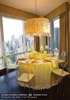 yellow tabletop wedding decor
