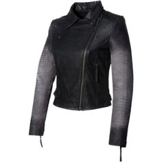 Hand Crafted Leather Croco Ombre Print Sleeve Motorcycle Biker Women... ($105) ❤ liked on Polyvore featuring outerwear, jackets, black, women's clothing, lined leather jacket, leather moto jacket, moto jacket, motorcycle jacket and black zip jacket