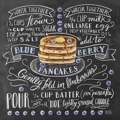 Lily & Val - Blaubeer-Pancakes Rezept (Englisch) - New Ideas Chalkboard Print, Chalkboard Lettering, Chalkboard Ideas, Lily And Val, Blueberry Pancakes, Recipe Today, Today's Recipe, Kitchen Art, Food Illustrations