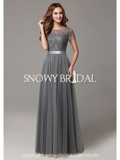Garden Modest Fall Grey Lace Long A-Line Bridesmaid Dress-US$96.99- StyleB2664-Snowy Bridal