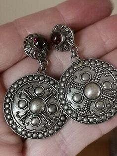 In very good condition and silver would bnfit from a light clean. Impressed silver mark ( 925). Vintage Type, Designer Earrings, Garnet, Dangle Earrings, Jewelery, Dangles, Gemstones, Inspired, Sterling Silver