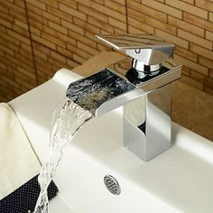 Modern Middenset Waterval with Keramische ventiel Single Handle Een Hole for Chroom Wastafelkranen