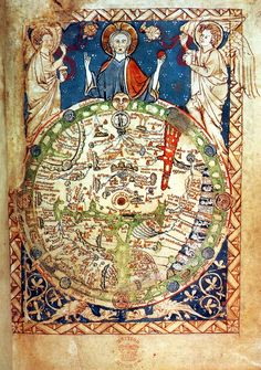 Geocentricite (terre-centre-univers)-Psalter World Map (mappa mundi), 1265 / This is one of the 'great' medieval world maps - La boite verte Old Maps, Antique Maps, Vintage World Maps, Antique World Map, Old World Maps, Medieval World, Medieval Art, Renaissance Art, British Library