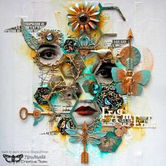 Fragments. Mixed media page by Gayle Price for Finnabair Creative Team