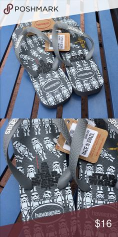 Havaianas Vader & Stormtrooper Flip Flops New with tags from Disney World!  Size 8 men's, size 9-10 women's. Havaianas Shoes Sandals