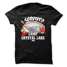 I Survived Camp Crystal Lake 1980 T-Shirts, Hoodies. ADD TO CART ==► https://www.sunfrog.com/Movies/I-Survived-Camp-Crystal-Lake-1980-T-Shirt.html?id=41382