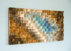 Modern Wood wall Art wood mosaic geometric art