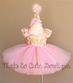 Pink and Gold Polka Dot Birthday Tutu Dress-pink, gold, tutu dress, birthday, 1st birthday, first birthday, polka dot, polkadot, blush, glitter