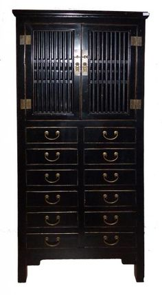 12 Drawer Tall Cabinet in Black