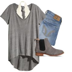 A fashion look from April 2016 featuring H&M t-shirts, Hollister Co. jeans and Office ankle booties. Browse and shop related looks.