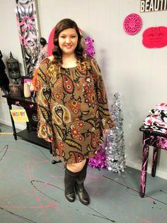 76d7028d6ea Tan Paisley Print Sweater Dress -  blondellamydean  plussizefashion   plussize  curves