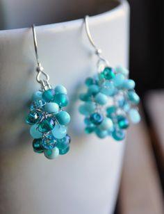 Crochet Wire Loop Blue Beaded Earrings by TimeWasJustADream, $30.00