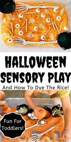 An easy Halloween Sensory bin for preschoolers and toddlers. A fun Halloween activity for kids at preschool, daycare, or home to do this fall! #halloweendecoration #halloweencostume #halloween Halloween Activities For Kids, Fall Activities For Toddlers, Activities For 1 Year Olds, Crafts For 2 Year Olds, Toddler Learning Activities, Autumn Activities, Preschool Halloween Crafts, Art Activities, Fall Sensory Bin