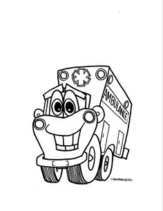 free online ambulance colouring page kids activity sheets people