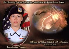 @OurFallenAngels: A1C Elizabeth N. Jacobson, 21. Killed in Safwan, Iraq on Sept. 28, 2005. First female Airman to be killed in combat.