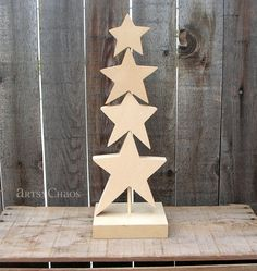 Unfinished Wood Star CHRISTMAS TREE Holidays Home by artsychaos, $14.99