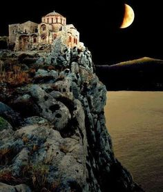 """""""Moon light on the top of the rock. Hellas-Monemvasia Castle in Laconia. Beautiful World, Beautiful Places, Romantic Places, In Ancient Times, Ancient Greek, Kirchen, Greek Islands, Greece Travel, Crete"""