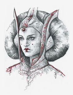 mpsketchbook:  Padme Amidala, Star Wars character by Magdalena Pelc,https://www.instagram.com/pelcc/ pencil, red fineliner