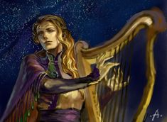 Finrod Felagund, one of the most skilled of Elven minstrels, in purple, green, and gold playing his harp beneath the starry sky. When the men awoke and listened to his song, each thought that Finrod was one of the Valar for they had never seen the elves with their beauty and grace before.