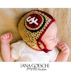 Crochet SF 49 ers Helmet Baby  newborn photography prop.. $31.99, via Etsy.