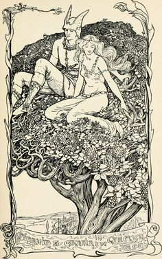 Henry Justice Ford 'Diarmid & Grania in the Quicken Tree' from The Pursuit of Diarmid Vintage Illustration Art, Fantasy Illustration, Illustrations And Posters, Arte Obscura, Fairytale Art, Art Graphique, The Villain, Gravure, Art Inspo