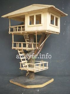 Miniature Tree Houses Ideas To Mesmerize You - Bor - Popsicle Stick Crafts House Popsicle House, Popsicle Stick Houses, Popsicle Stick Crafts, Craft Stick Crafts, Wood Crafts, Diy And Crafts, Crafts For Kids, Miniature Trees, Miniature Houses