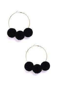 Black Pom Hoop Earrings