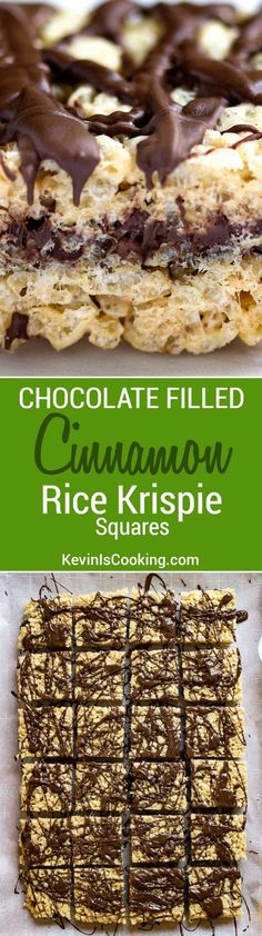 These Chocolate Rice Krispie Squares are ridiculously delicious and addictive. 2 layers of Rice Krispie treats with melted chocolate inside and on top! via @keviniscooking