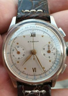 Eterna chronograph vintage valjoux 22 medical nos conditions oversize Omega Watch, Chronograph, Conditioner, Medical, Stuff To Buy, Accessories, Ebay, Vintage, Clocks