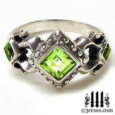 Royal Princess Wedding Ring Green Peridot Stone by 3RexesJewelry, $115.00