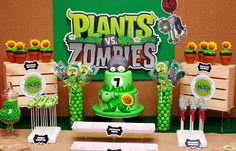 Themes for birthday parties according to age for child - Celebrat : Home of Celebration, Events to Celebrate, Wishes, Gifts ideas and more ! Zombie Birthday Cakes, Zombie Birthday Parties, Zombie Party, 8th Birthday, Birthday Party Themes, Birthday Ideas, Happy Birthday, Plants Vs Zombies, Plantas Versus Zombies