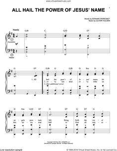 Rippon - All Hail The Power Of Jesus' Name sheet music for accordion Digital Sheet Music, Accordion Sheet Music, My Father's World, Gospel Music, Names Of Jesus, Piano, How To Become, Lyrics