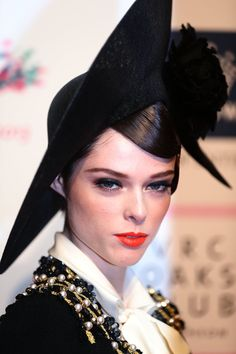 Pin for Later: The Bright Lipstick Looks You Shouldn't Be Too Scared to Try Coco Rocha An orange-red colour was Coco's choice for a day out at the Melbourne races. Strong brows and black eyeliner just added to the bold look.