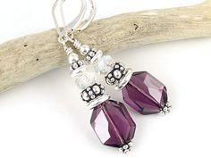 Sterling Amethyst Purple Earrings Swarovski Crystal Jewelry Silver Leverback Lever Back Dangle Beaded Earrings