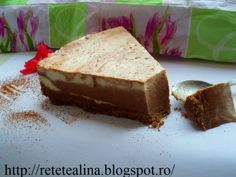 Cheesecake cu ciocolata - imagine 1 mare Pinterest Recipes, Biscuit, Banana Bread, Caramel, Cheesecake, Good Food, Easy Meals, Favorite Recipes, Cooking