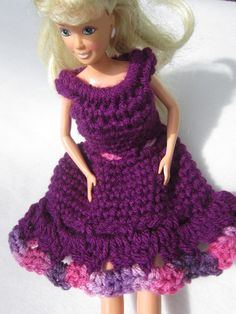 Crochet Barbie Dress in Party Purple