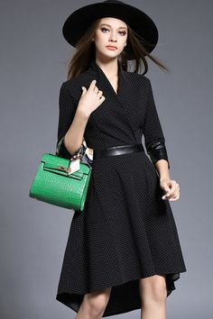 $42.99 Black Polka Dot High Low Dressproducts_id:(1000012963 or 1000012316 or 1000012660 or 1000012415)