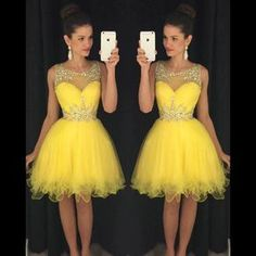 Bateau Neck Yellow Short Prom Dress, Sweet Illusion A-line Tulle Mini Prom Dress, Elegant Sleeveless Ruffles Prom Dress with Beads