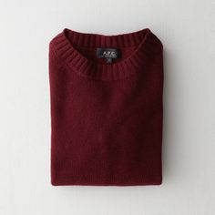 A.P.C. Wool Cashmere Crewneck Sweater (31310 RSD) ❤ liked on Polyvore featuring tops, sweaters, shirts, red, bordeaux, red cropped sweater, wool shirt, red shirt, red cashmere sweater and crewneck sweater