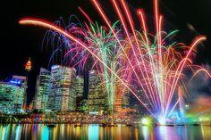 Fireworks during the Vivid Sydney Festival at Darling Harbour
