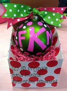 Present Idea: Monogrammed Ornament Add Your letters for big or little!