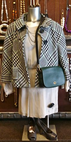 Twelfth beige dress, size S, $22 Sunny Leigh houndstooth jacket, size 2, $22 chain necklace, $12 Tannery West green leather purse, $22 Vince Camuto taupe heels, size 5 1/2, $22 + find much more at www.thexchangeclothing.com