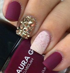 Deep Maroon Matte Nails w/ Gold Studded & White Stenciled Accent Nails ♡♥♡♥♡♥ #nails #beauty #Instagram