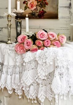 Shabby Chic Vintage Romance Lace with bouquet of Long Stemmed Pink Roses, Home Decor Ideas