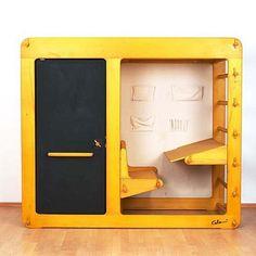 Portable design (Loft Bed, Desk, and Storage Piece by Luigi Colani circa Loft Bed Desk, Bunk Bed With Desk, Bunk Beds Built In, Bedroom Loft, Kids Bedroom, Mezzanine Bed, Colani Design, Kids Furniture, Furniture Design
