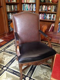 Henredon Leather Armchair, Pair Available