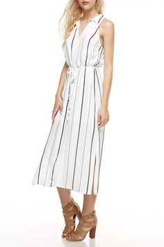 Work or play, you will love this sleeveless button-front black and white midi shirtdress. With a semisheer poly which is lined to the mid thigh and an optional easy waist tie, you will find many uses for this stylish frock!   White Striped Midi Dress by Honey Punch. Clothing - Dresses - Casual Clothing - Dresses - Midi Pennsylvania
